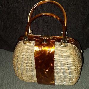 1950's rare hand made straw/wicker handbag